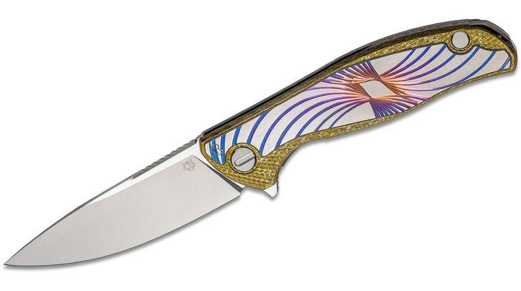 Shirogorov Custom Division Chris Reeve UniHati Flipper Knife 3.875 inch Vanax 37 Blade, Yellow Alutex and Titanium Handles with Unique CGG Titanium Onlay