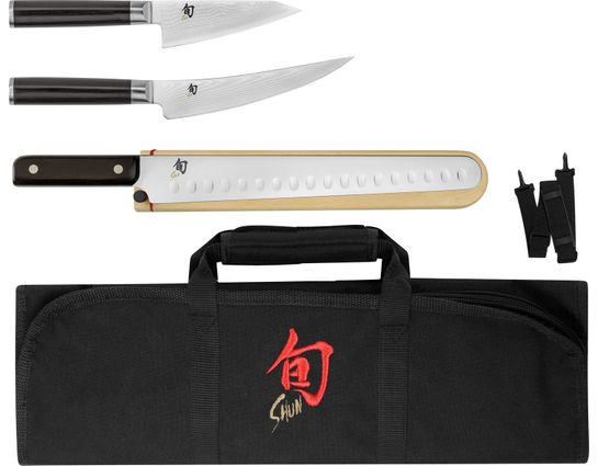 Shun DMS0450 Classic 4 Piece BBQ Set with DM8800 Knife Roll, Pakkawood Handles