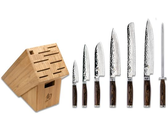 Shun TDMS0808 Premier Hammered Blade Professional 8 Piece Bamboo Block Set