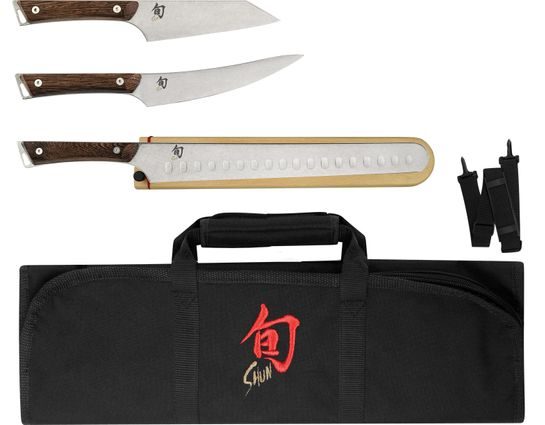 Shun SWTS0450 Kanso 4 Piece BBQ Set with DM8800 Knife Roll, Tagayasan Wood Handles