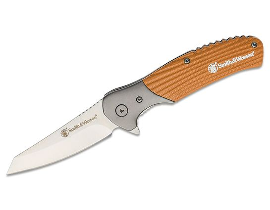 Smith & Wesson Stave Flipper Knife 3.3 inch Satin Reverse Tanto Blade, Tan G10 Handles with Stainless Steel Bolsters