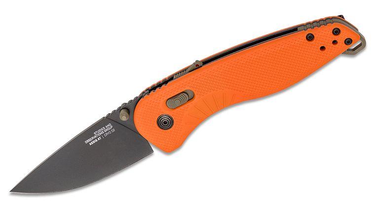SOG Aegis AT Blaze and Tan Assisted Folding Knife 3.13 inch D2 Black Plain Blade, Orange GRN Handles, KnifeCenter Exclusive