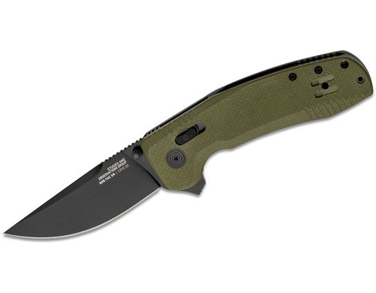 SOG SOG-TAC XR Flipper Knife 3.39 inch D2 Black Plain Blade, OD Green G10 Handles - XR Lock