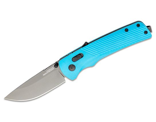 SOG Flash AT Civic Cyan Assisted Folding Knife 3.45 inch D2 Black Plain Blade, Blue GRN Handles