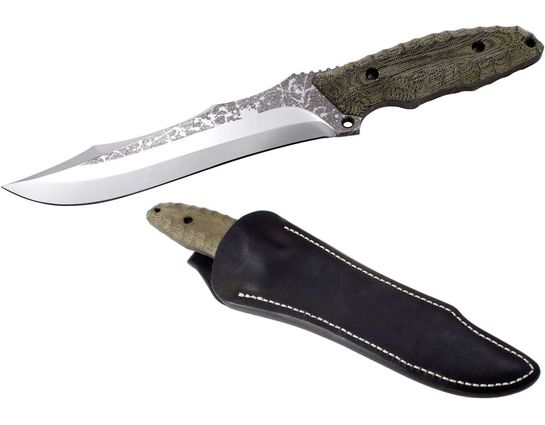 SOG KIKU Limited Edition 7.5 inch OU-31 Steel Blade, Green Canvas Micarta Handle