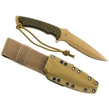 Spartan Blades Ares Combat Knife 5-3/8 inch S35VN FDE Blade, Green Micarta Handles, Coyote Kydex Sheath