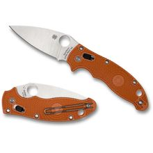 Spyderco Manix 2 Lightweight Folding Knife 3.37 inch CPM-REX 45 Satin Plain Blade, Burnt Orange FRCP Handles, Sprint Run
