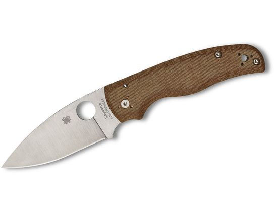 Spyderco Shaman Sprint Run Folding Knife 3.62 inch CPM CRU-WEAR Satin Plain Blade, Brown Canvas Micarta Handles