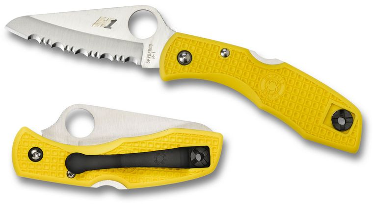 Spyderco C88SYL Salt I Folding Knife 3 inch H1 Serrated Blade, Yellow FRN Handles
