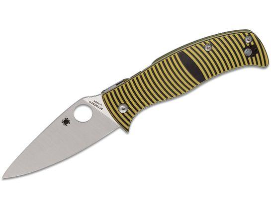 Spyderco Caribbean Folding Knife 3.7 inch Rustproof LC200N Leaf Shaped Plain Blade, 3D Machined G10 Handles