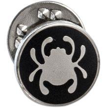 Spyderco Lapel Bug Pin, 1/2 inch Diameter, Black with Silver SpyderLogo
