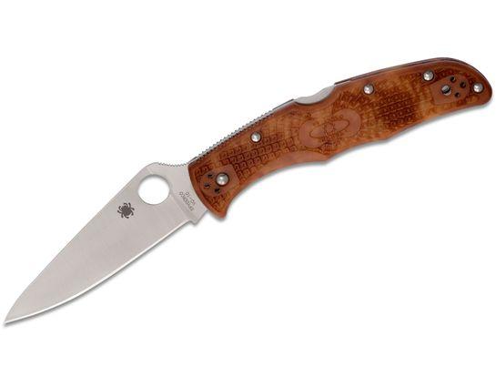 Spyderco Endura 4 Flat Ground 3-3/4 inch VG10 Satin Plain Blade, Zome Camo FRN Handles