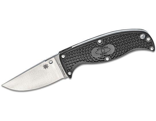 Spyderco Enuff Clip Point Fixed 2.75 inch VG10 Plain Blade, Black FRN Handles