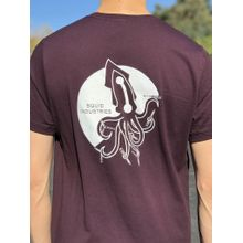 Squid Industries T-Shirt - Burgundy with Flipping Squid V2 Logo, Large