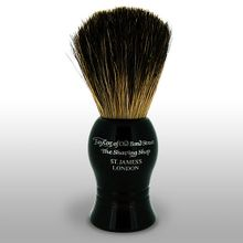 Taylor of Old Bond Street P1020B Pure Badger 9.5 cm Small Shaving Brush, Black Handle