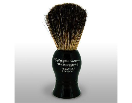 Taylor of Old Bond Street P1020B Pure Badger 9.5 cm Small Shaving Brush, Black Handle