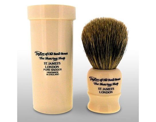Taylor of Old Bond Street P2190 Pure Badger 8.5 cm Small Travel Shaving Brush with Travel Case, Faux Ivory