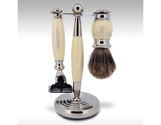 Taylor of Old Bond Street Pure Badger Mach3 Imitation Ivory Edwardian Shave Set in Gift Box