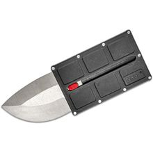 TEKNA Knives Security Card Folding Knife 2.375 inch Double Edge Blade, Tough Structural Resin Handle