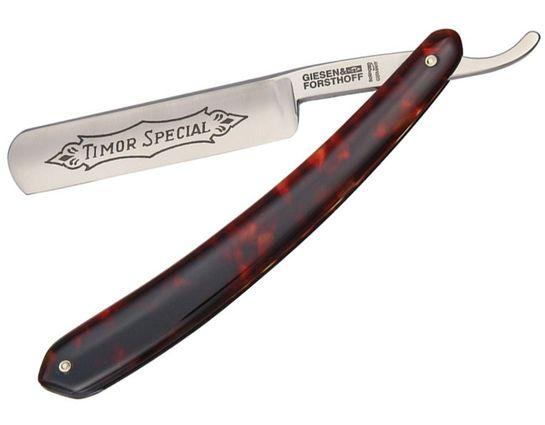 Timor Straight Razor, 5/8 inch Carbon Steel Blade, Red Imitation Tortoise Handles