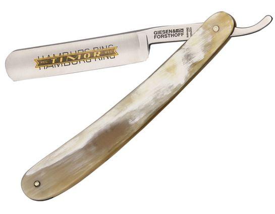 Timor Straight Razor, 5/8 inch Carbon Steel Blade, Horn Handles