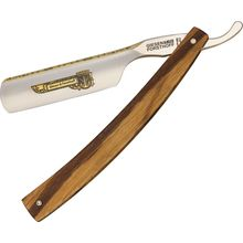 Timor Straight Razor, 7/8 inch Carbon Steel Blade with Gold Etching, Maple Wood Handles