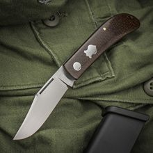 Tim Britton Knives Custom Lanny's Clip Traditional Folding Knife 3 inch BG-42 Hand Rubbed Satin Blade, Barbed Wire Micarta Handles