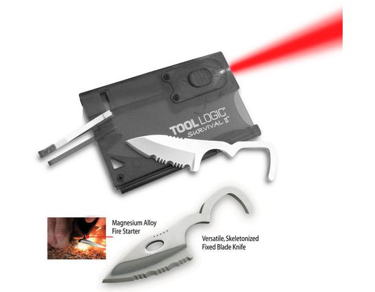Tool Logic Survival Card II Charcoal Ultra Slim Card Tool with Red LED Flashlight