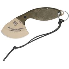 TOPS Knives Backwoods Skinner Fixed 3 inch Coyote Tan Blade, Gut Hook, OD Green Micarta Handles, Leather Sheath