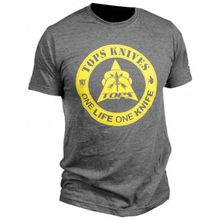 TOPS Knives One Life One Knife Logo T-Shirt, Charcoal Heather, 2X-Large