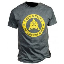 TOPS Knives One Life One Knife Logo T-Shirt, Dark Heather, 2X-Large