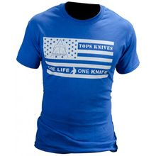 TOPS Knives One Life One Knife Flag Logo T-Shirt Blue, Medium