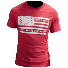 TOPS Knives One Life One Knife Flag Logo T-Shirt, Red, 2X-Large