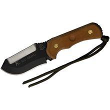TOPS XcEST Bravo Fixed 3-3/8 inch Blade, Sharpened Top Edge, Brown Micarta Handles, Survival Kit, Nylon Sheath