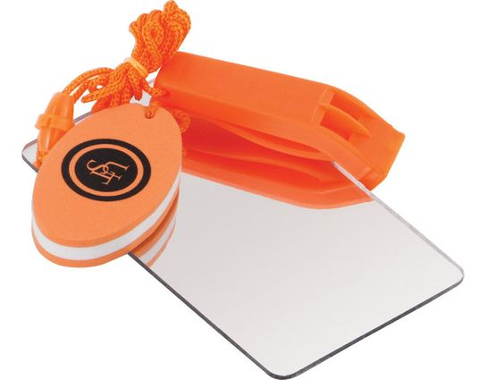 UST Ultimate Survival Find-Me Whistle and Mirror with Float, Orange