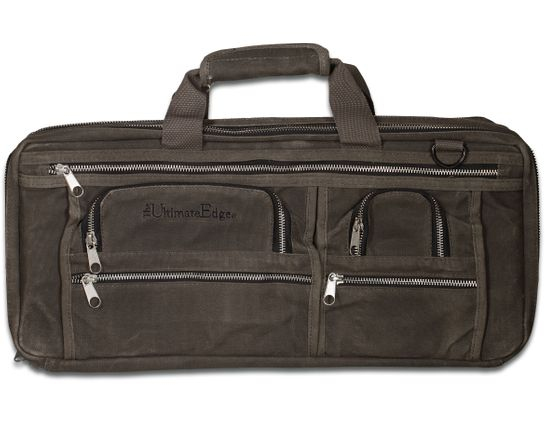 The Ultimate Edge EDOW Oil Wax Canvas Deluxe 18 Piece Knife Case, 5 Exterior Pockets, Smoke