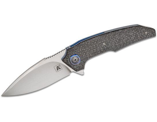 Andre van Heerden/Andre Thorburn Custom A6 Flipper Knife 3.5 inch CTS-XHP Hand Rubbed Satin Blade, Silver Lightning Strike Carbon Fiber Handles, Tashi Bharucha Design