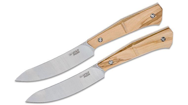 Viper Knives Sakura 2-Piece Steak Knife Set 4.53 inch Nitro B Stainless Steel Satin Blades, Olive Wood Handles