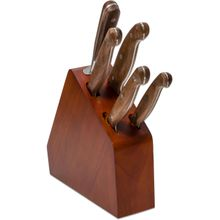 V Nives Diafire Gourmet Classic 6 Piece Block Set, Walnut Handles