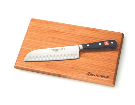 Wusthof Classic 7 inch Santoku Knife Made in Germany, Hollow Edge with Cutting Board