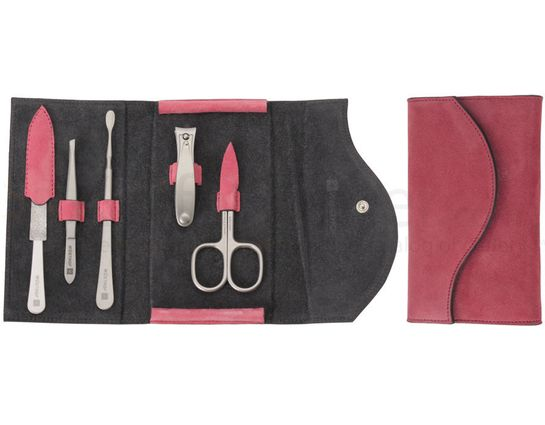 Wusthof 5 Piece Stainless Manicure Set, Goat Velour Leather Case