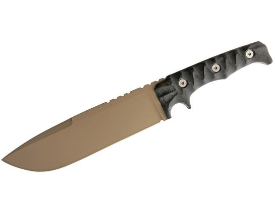 Wander Tactical Dimorphodon Fixed 8.5 inch Dark Earth D2 Blade, Black Micarta Handles, Thermo-Molded Polymer Sheath