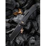 We Knife Company 2003B Snecx Mini Buster Flipper Knife 3.43 inch 20CV Black Stonewashed Sheepsfoot Blade, Antique Bronze Milled Titanium Handles