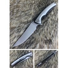 We Knife Company 704E Flipper 3.625 inch M390 Hand Rubbed Satin Blade, Gray and Black Titanium Handles
