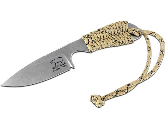 White River Knives M1 Backpacker Fixed 3.25 inch S35VN Stonewashed Blade, Desert Camo Paracord Handle, Kydex Sheath