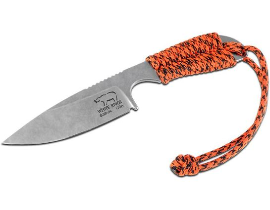 White River Knives M1 Backpacker Fixed 3.25 inch S35VN Stonewashed Blade, Orange Paracord Handle, Kydex Sheath