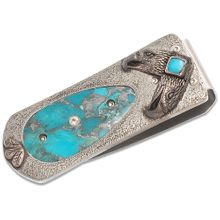 William Henry Zurich 'Talon' Money Clip, Carved Sterling Silver with Turquoise Inlay
