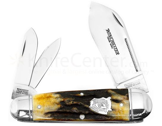 Winchester 4-1/2 inch Closed Buffalo Head Series King Whittler Pocket Knife, Stag Handles