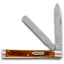 Winchester Two Blade Doctor's Knife, Tan Bone Handles, 3.625 inch Closed
