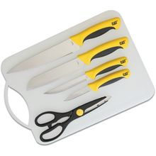 Caterpillar 6 Piece Stainless Steel Cutlery Set with Cutting Board